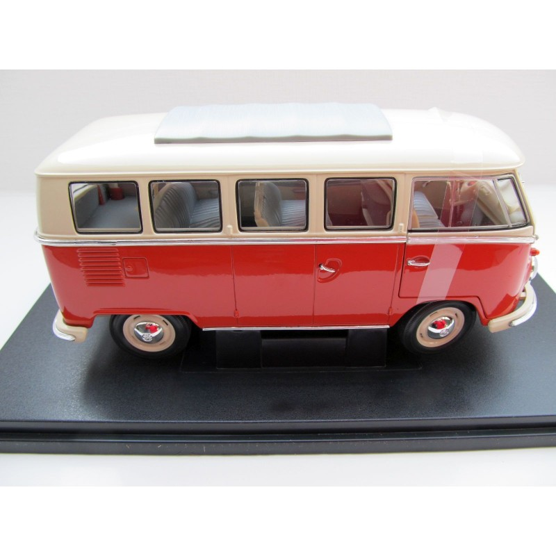 Vw t1 bus window deluxe folding roof red white 1 18 vw for 18 window vw bus