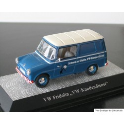 "VW Fridolin type 147 with advertising ""VW Kundendienst"" blue-white 1:43"