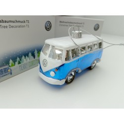 VW T1 Bulli Bus Christmas ball 2 piece ORIGINAL blue / white