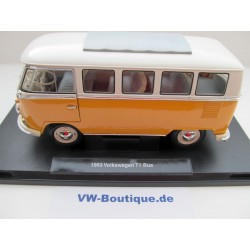 VW T1 Bus 1962 convertible top in VW packaging orange / white 1:18