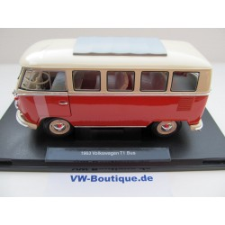 VW T1 bus window Deluxe folding roof red / white 1:18