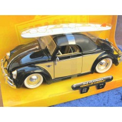 VW Beetle Convertible Hebmüller Softtop with surfboard beige/black 1:24