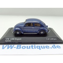 VW Käfer 1200 Brezel Export von Minichamps in 1:43 + blau + 400051204