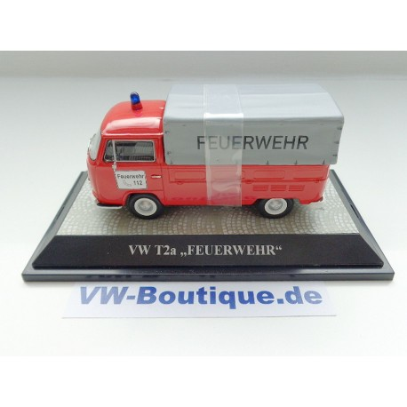 VW T2a Flatbed Firemen red with gray tarp 1:43
