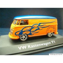 VW T1 Bus Tuning orange / blue lowered