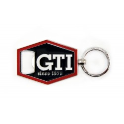 VOLKSWAGEN VW GTI keyring with bottle opener - hexagon / red