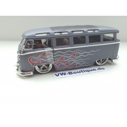 VW T1 Bus Samba flames gray matt 1:24