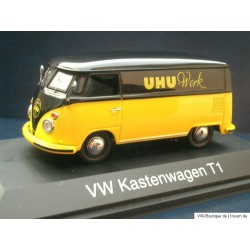 VW T1 Bus Transporter van with UHU Advertising