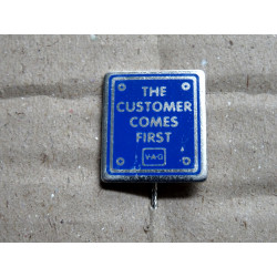 """VOLKSWAGEN VW Pin """"The customer comes first"""", 10 very rare !!"""