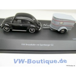 VW Beetle 1200 Pretzel black + Sport Berger trailers gray