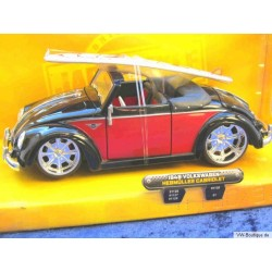 VW Beetle Convertible Hebmüller chrome wheels with surfboard red/black 1:24