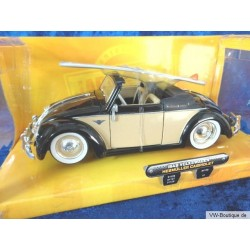 VW Beetle Convertible Hebmüller  with surfboard beige/black 1:24