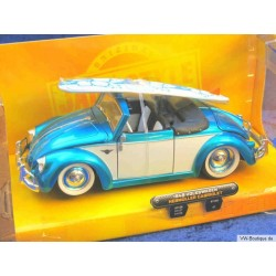 VW Beetle Convertible Hebmüller  with surfboard white/blue 1:24