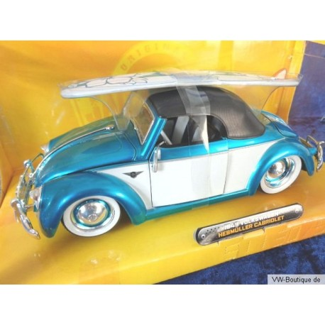VW Beetle Convertible Hebmüller Softtop with surfboard blue/white 1:24