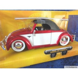 VW Beetle Convertible Hebmüller Softtop with surfboard red/white 1:24