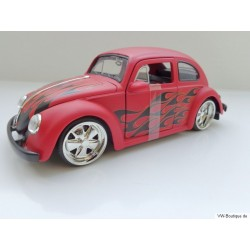 VW Käfer 1959 Custom Chrom Fuchsfelgen Flammen matt rot 1:24