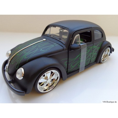 VW Beetle 1959 Custom Chrome Fuchs Wheels flame style matt black 1:24