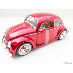 VW Beetle 1959 Custom Chrome Wheels red metallic 1:24