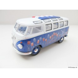 VW T1 Samba Bus with Holland tulips decorative folding roof blue-red-white 1:24
