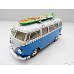 VW T1 bus folding roof with surfboard blue 1:24
