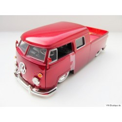 VW T1 Doka lowered red metallic whitewall tires 1:24