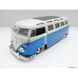 VW T1 Bus sun roof chrome wheels Lowrider blue 1:24