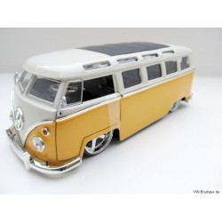 VW T1 Bus Samba sun roof chrome wheels Lowrider yellow 1:24