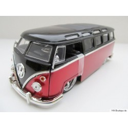 VW T1 Bus Samba sun roof chrome wheels Lowrider red 1:24
