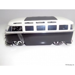 VW T1 Bus Samba sun roof chrome wheels Lowrider black 1:24