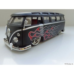 VW T1 Bus Samba sun roof chrome wheels Lowrider flames black matt 1:24