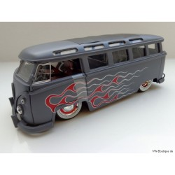 VW T1 Bus Samba sun roof chrome wheels Lowrider flames gray matt 1:24