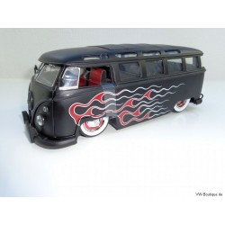 VW T1 Bus Samba sun roof white wheels Lowrider flames black matt 1:24