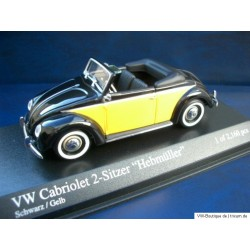 VW Beetle Convertible Hebmüller 1949 black / yellow 1:43