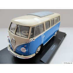 VW T1 Bus 1962 convertible top in VW packaging blue / white 1:18