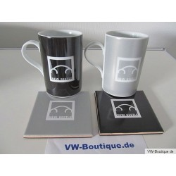 Set of 6 VW New Beetle cups with coasters