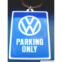 VW Keychain PARKING ONLY blue-white