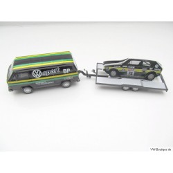 VW T3 a Transporter Motorsport + Trailer schwarz 1:43