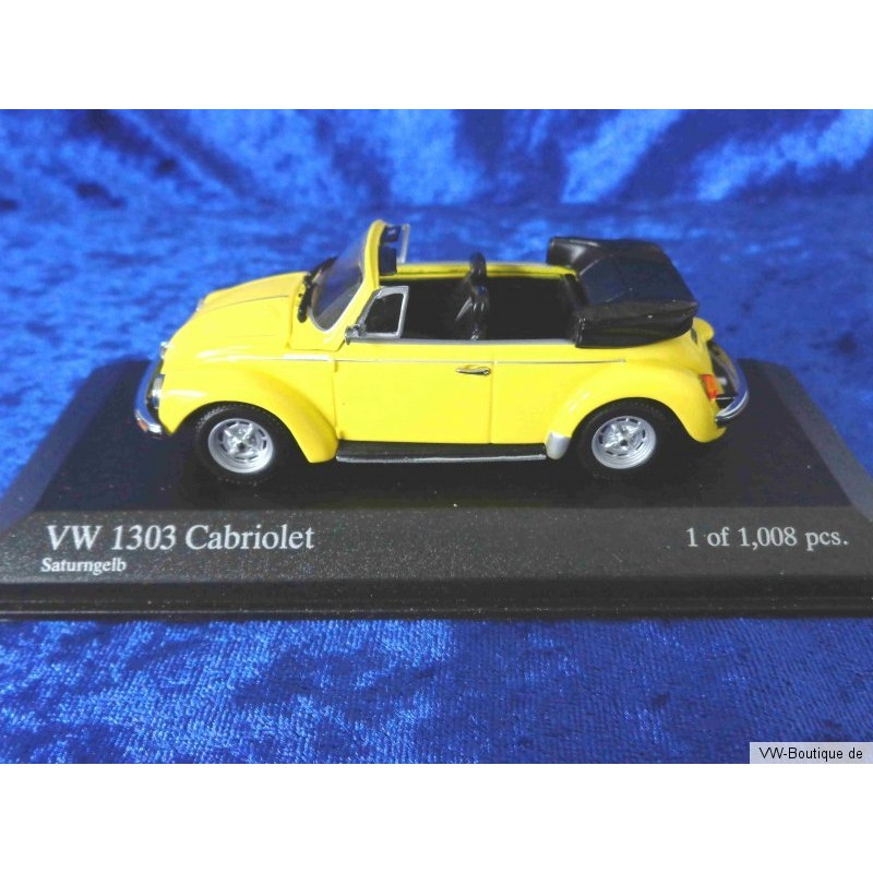 vw 1303 beetle cabrio open saturn yellow 1 43 vw boutique. Black Bedroom Furniture Sets. Home Design Ideas